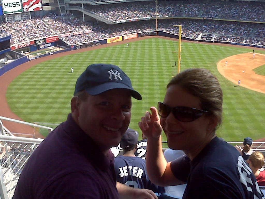 Newlyweds at a Yankee game 2